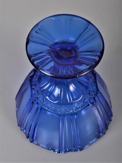blå glas sukkerskål